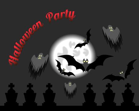 Full moon with bats. Halloween illustration. Иллюстрация