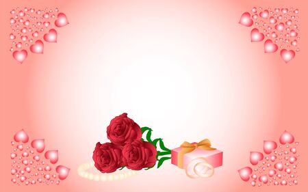 romantic date: Card with a pink background and hearts in the corners, in the center of which are red roses, a pearl necklace, a gift and wedding rings.