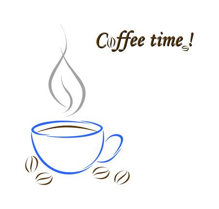 Blauwe kop met koffie en koffiebonen