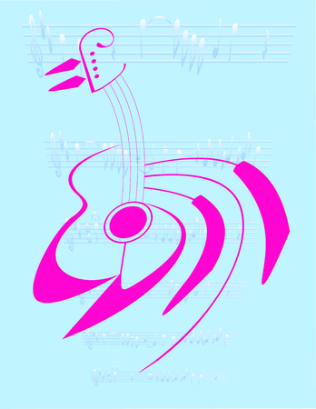 on a blue background with musical notes are isolated guitar and piano keys
