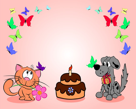 A cat and a dog next to a cake and butterflies congratulate everyone on the holiday.