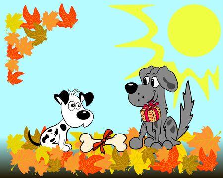 Tegen de achtergrond van het herfstlandschap feliciteert de ene hond de andere op zijn verjaardag met het geven van een geschenk en een bot.