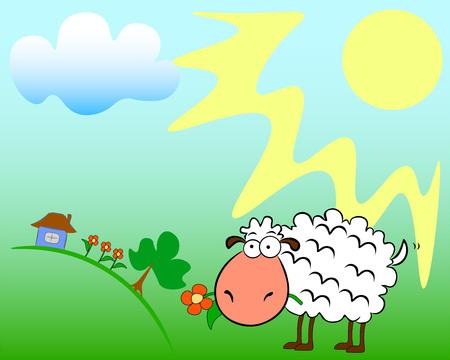 On a summer sunny field, a sheep chews a flower. Ilustração