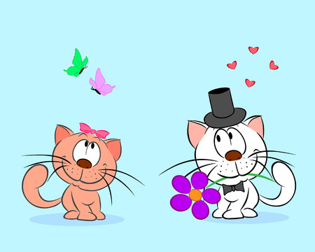 A pair of enamored cats are isolated on a blue background. Illustration