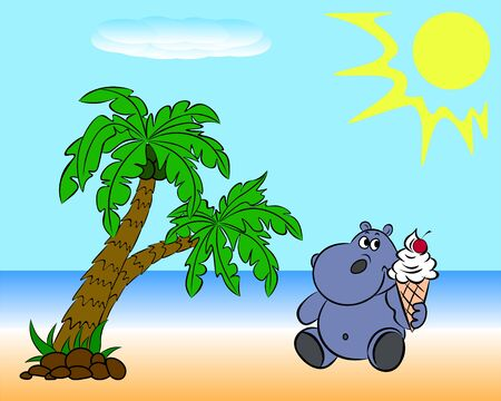 On the beach with palm trees, the hippo eats an ice cream with a cherry. Illustration