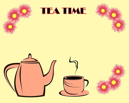 beige teapot and a cup of tea isolated on a yellow background,  framed by pink flowers and the inscription TEA TIME. Vector illustration.