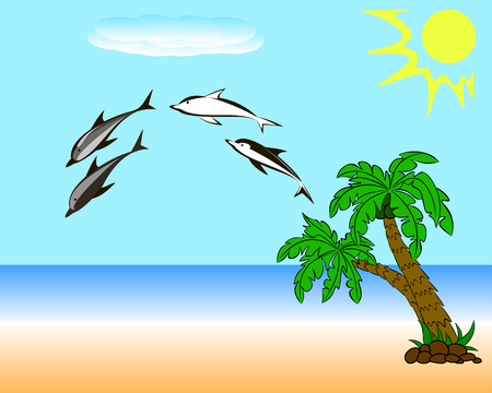 On a sunny beach with palm trees, over the water of the sea you can see a flock of dolphins. Ilustração