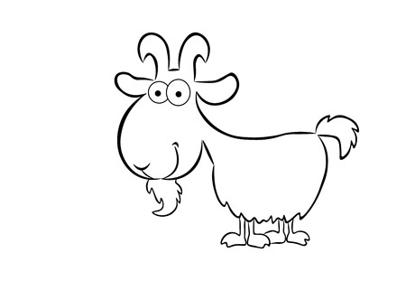 Isolated on white background cartoon outline of a goat.