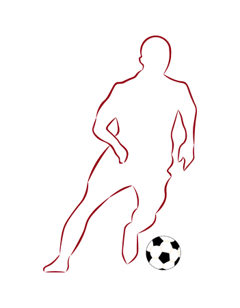 Isolated on white background is the silhouette of a football player with a ball.