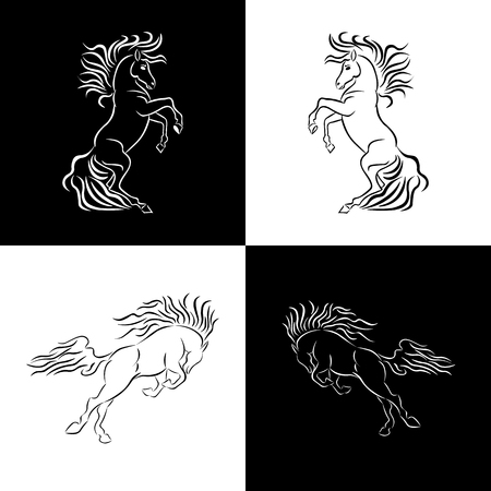In chess order on a black and white background are silhouettes of horses in white and black.