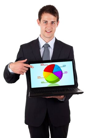 Business man pointing at a laptop computer with pie chart, isolated on white  photo