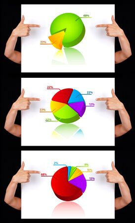 hand pointing to dimensional chart collection, isolated photo