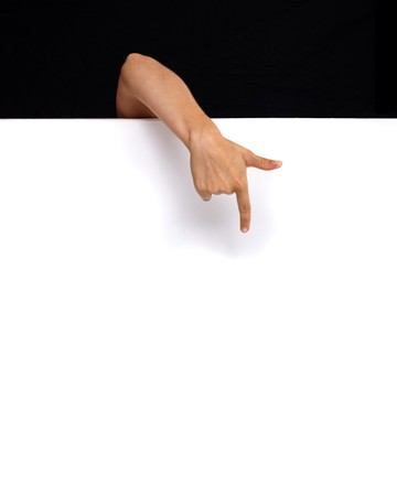 woman hand pointing to white wall 2 photo