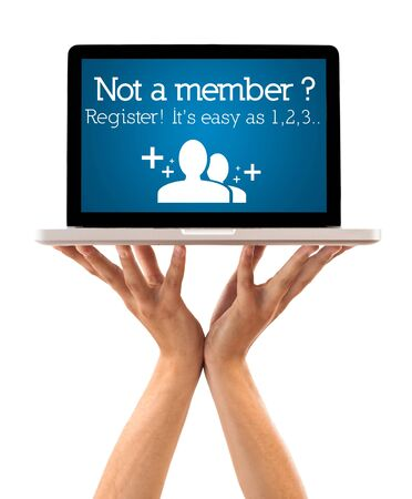 register: Hand holding laptop with register sign, isolated on white