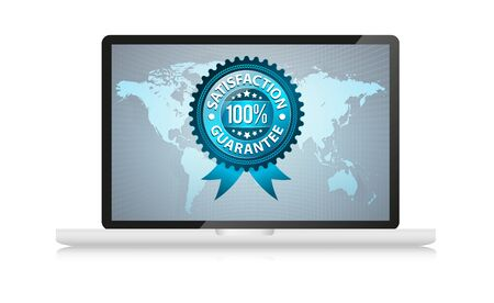 satisfation guarantee label in laptop, isolated on white Stock Photo - 7857664