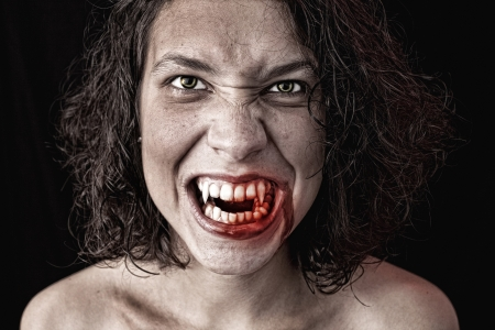 female vampire: portrait of a female vampire Stock Photo