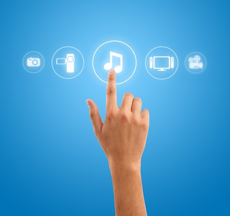 hand choosing music note symbol from media icons photo