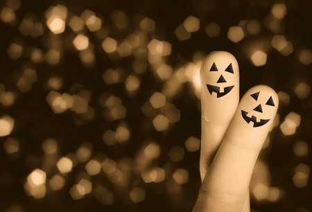 Halloween pumpkin finger hug with abstract lights 2 Stock Photo - 7957331