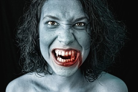 imp: portrait of a female vampire Stock Photo