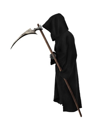 scythe: Reaper antiguo con guada�a sobre fondo blanco  Foto de archivo