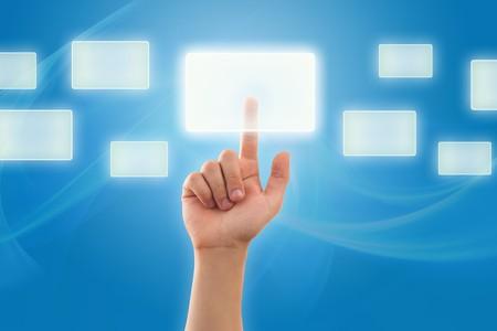 The hand presses digital button photo