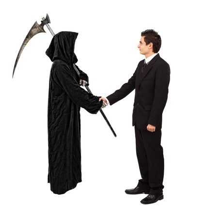 male parts: Business handshake with reaper, isolated on white Stock Photo