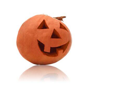 Halloween pumpkin on white with copyspace  photo