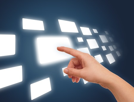 the hand on the flow of several button, futuristic digital technology Stock Photo - 8037184
