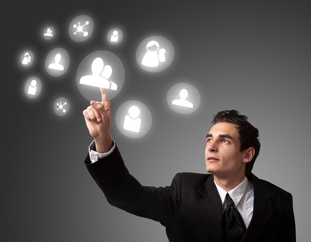 pressing: business man pressing a digital button