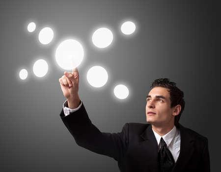 business man pressing a touchscreen button  Stock Photo - 8261642