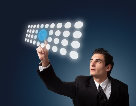 Business man pressing a touchscreen button.  Stock Photo - 8261649