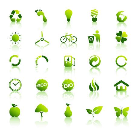 residuos organicos: Icono de medio ambiente de eco verde establecido 2 Vectores