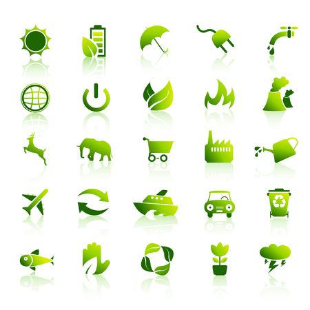 Eco green environmental icon set 1 Vector