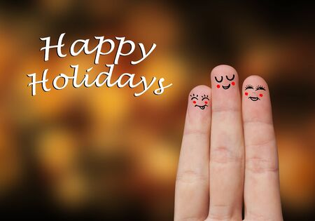 Painted finger smiley, happy holiday theme Stock Photo - 8507190