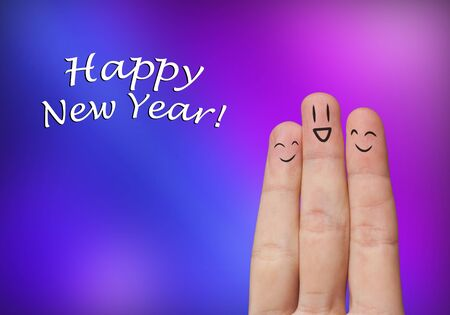 Painted finger smiley, happy new year theme Stock Photo - 8507185