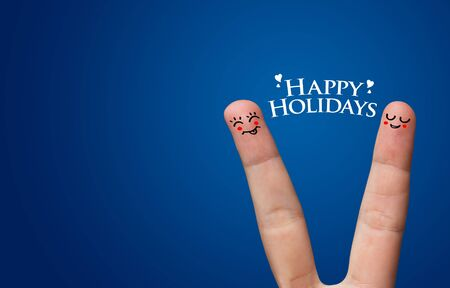 Happy finger hug on Holdiays theme Stock Photo - 8507181