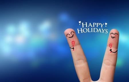 Happy finger hug on Holdiays theme Stock Photo - 8507187