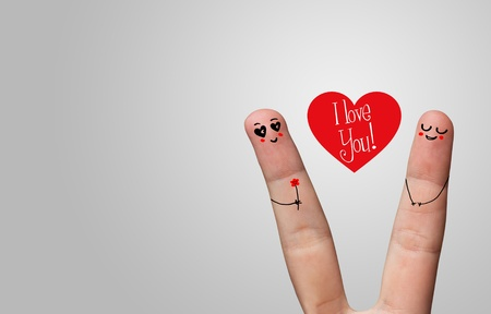 Painted finger smiley, valentine's day theme Stock Photo - 8507180