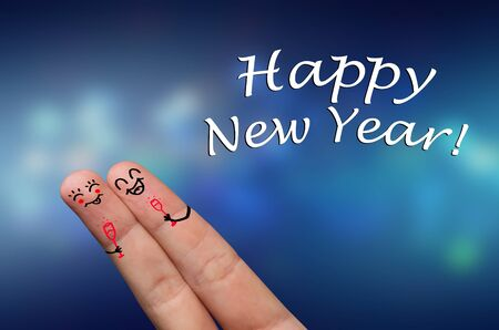 Finger hug with Abstract Lights and painted smiley, Happy New Year Stock Photo - 8507189