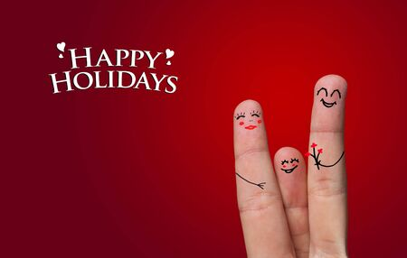 Finger hug with Abstract Lights and painted smiley Stock Photo - 8507177