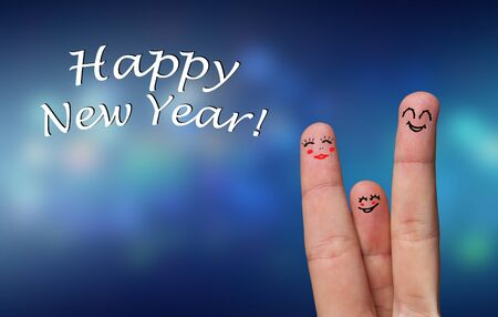 Painted finger smiley, happy new year theme Stock Photo - 8507184