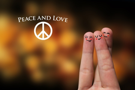 hippy: Painted finger smiley, peace and love theme