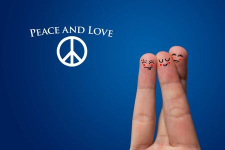 pacifism: Painted finger smiley, peace and love theme