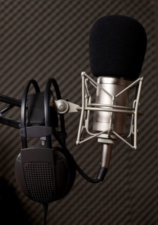 shure: Radio studio, microphone and big headphone Stock Photo