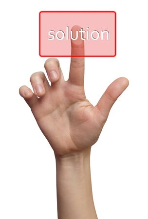 Finger choice Solution button isolated  photo