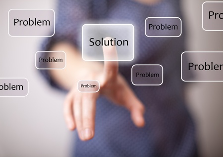 woman finger on solution button Stock Photo - 8584873