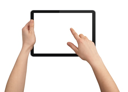 a male hand holding a touchpad pc, one finger touches the screen, isolated on white Stock Photo - 8584858