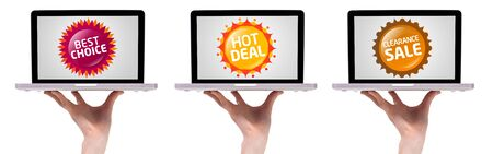 Hand holding laptop with Colorful sale label collection 2, isolated on white Stock Photo - 8584866