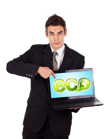 Business man pointing at a laptop with ECO sign, isolated on white photo