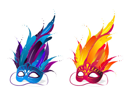 Colorful party masks Vector